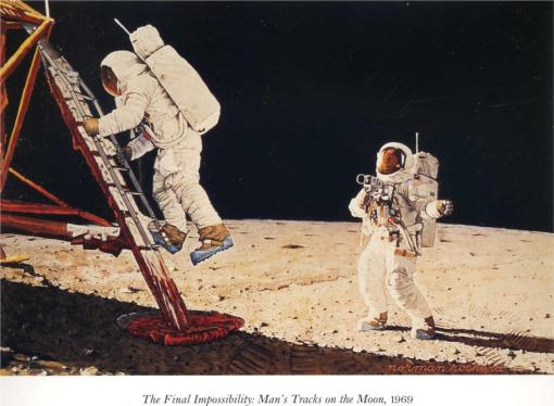 The Final Impossiblity: Man's Tracks on the Moon (Norman Rockwell, 1969).